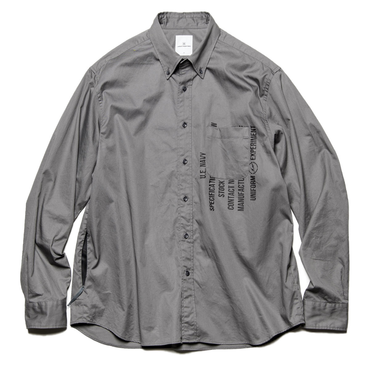 uniform experiment / GABARDINE BACK CONCEALED POCKET BIG B.D SHIRT -Gray