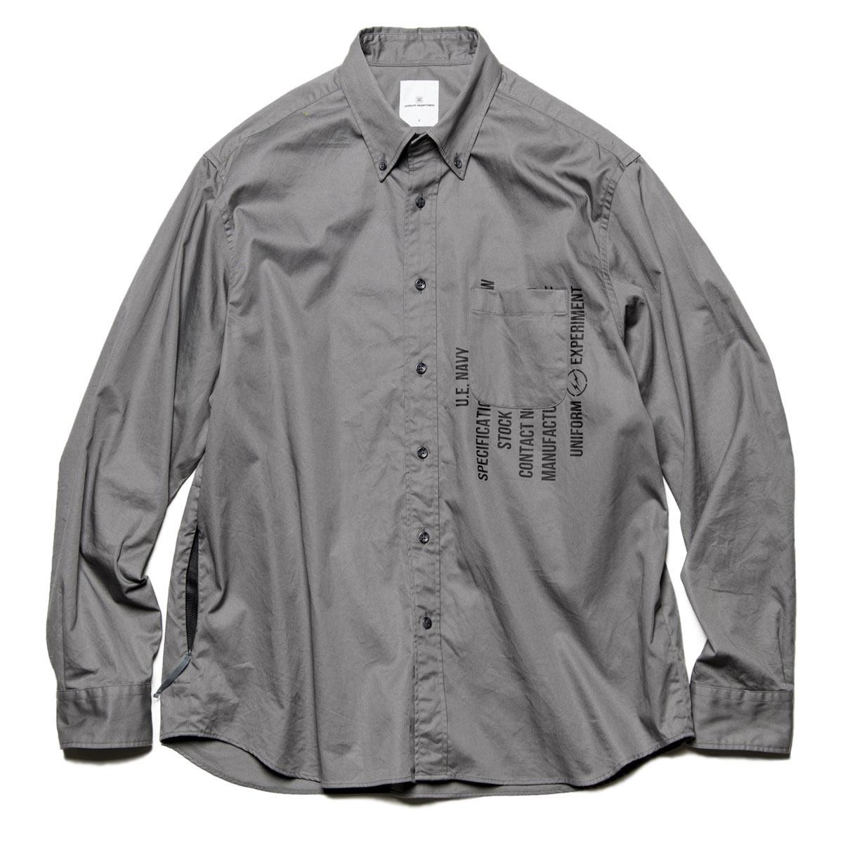 uniform experiment / GABARDINE BACK CONCEALED POCKET BIG B.D SHIRT -Gray