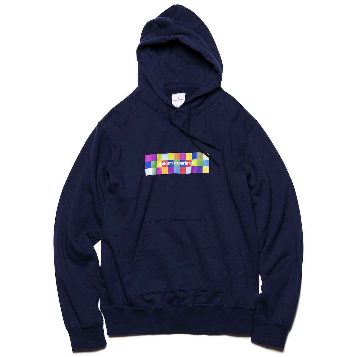 uniform experiment / COLOR CHART BOX LOGO HOODIE -Navy