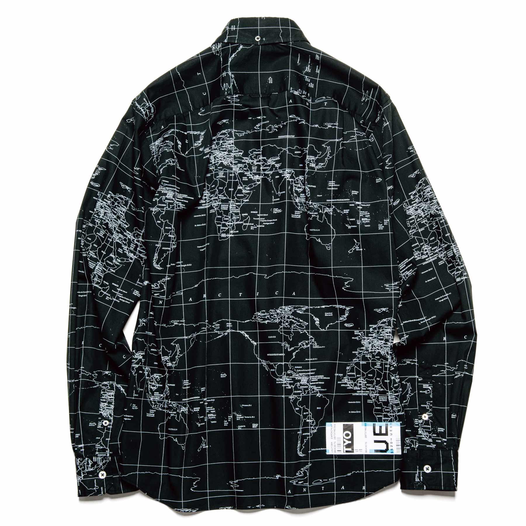 uniform experiment / WORLD MAP B.D SHIRT (Black)