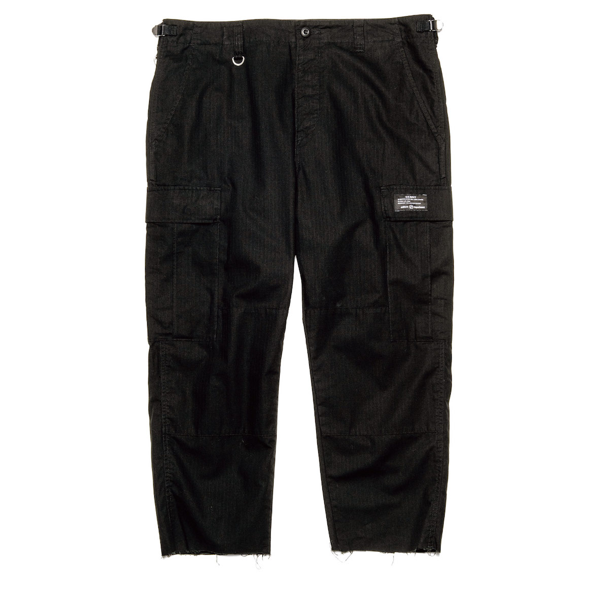 uniform experiment / HEM CUT OFF CROPPED CARGO PANTS (Black)