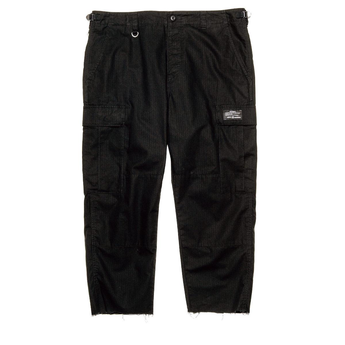 uniform experiment / HEM CUT OFF CROPPED CARGO PANTS (Black)