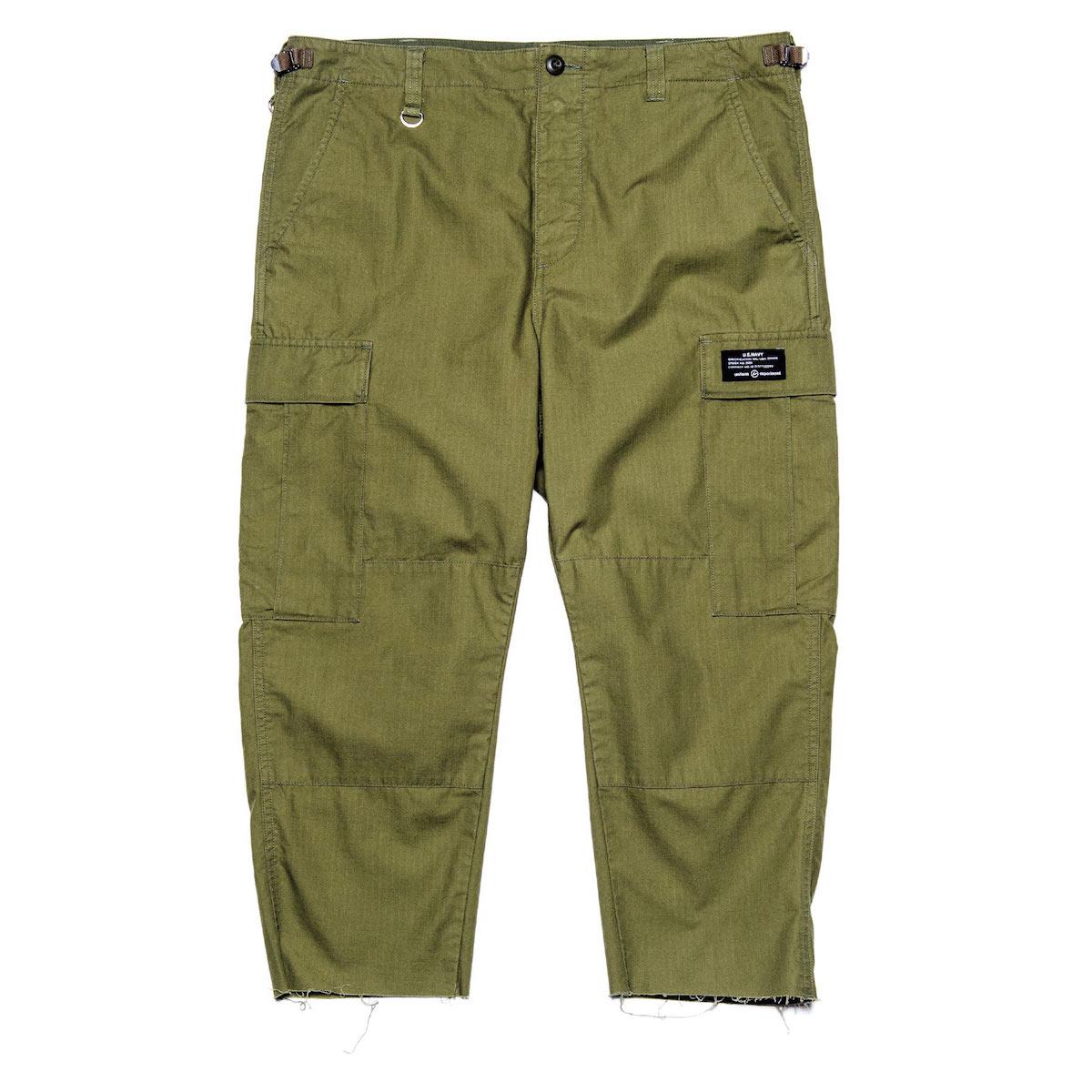 uniform experiment / HEM CUT OFF CROPPED CARGO PANTS (Khaki)