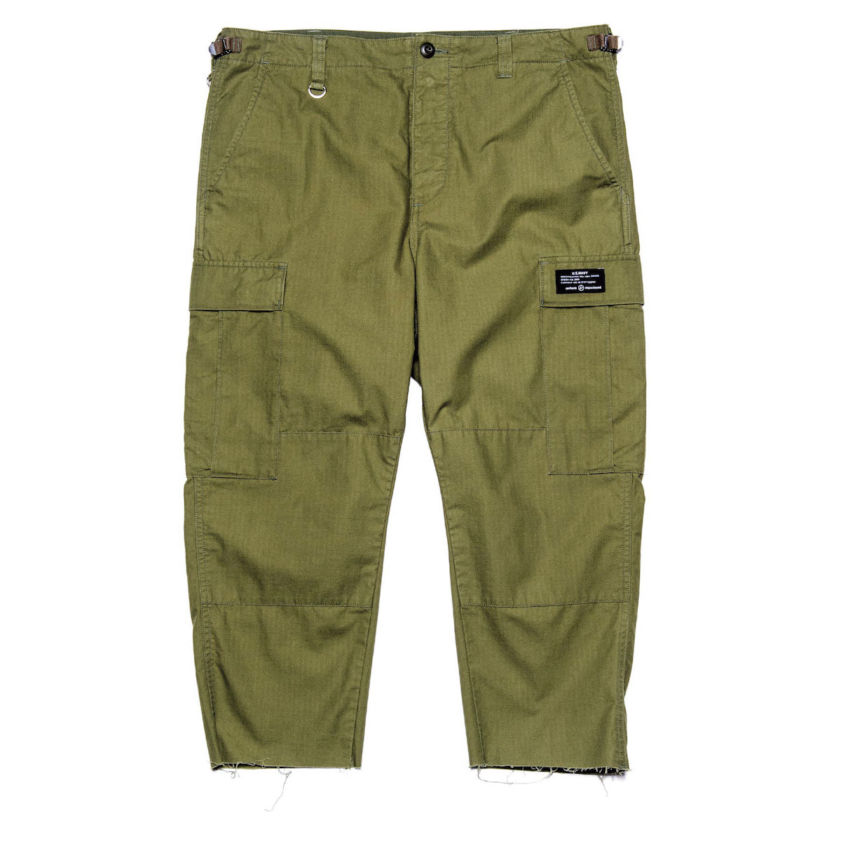 uniform experiment / HEM CUT OFF CROPPED CARGO PANTS (Khaki)