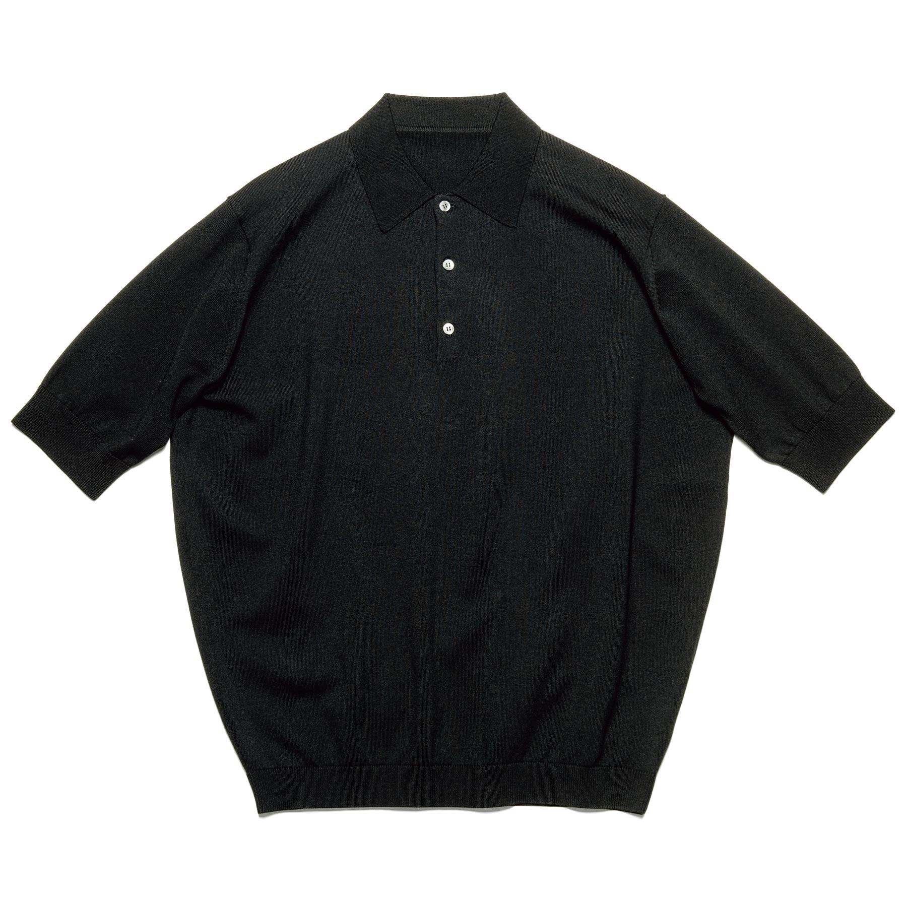 uniform experiment / S/S KNIT POLO (Black)