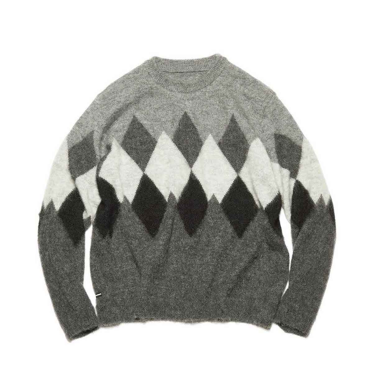 uniform experiment / ARGYLE MOHAIR CREWNECK KNIT (GRAY)