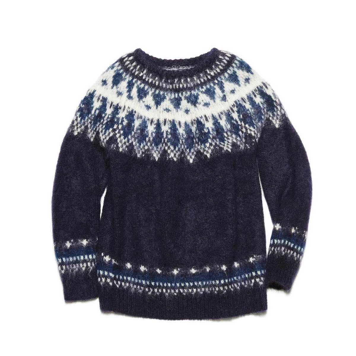 uniform experiment / NORDIC MOHAIR CREWNECK KNIT (Navy)正面