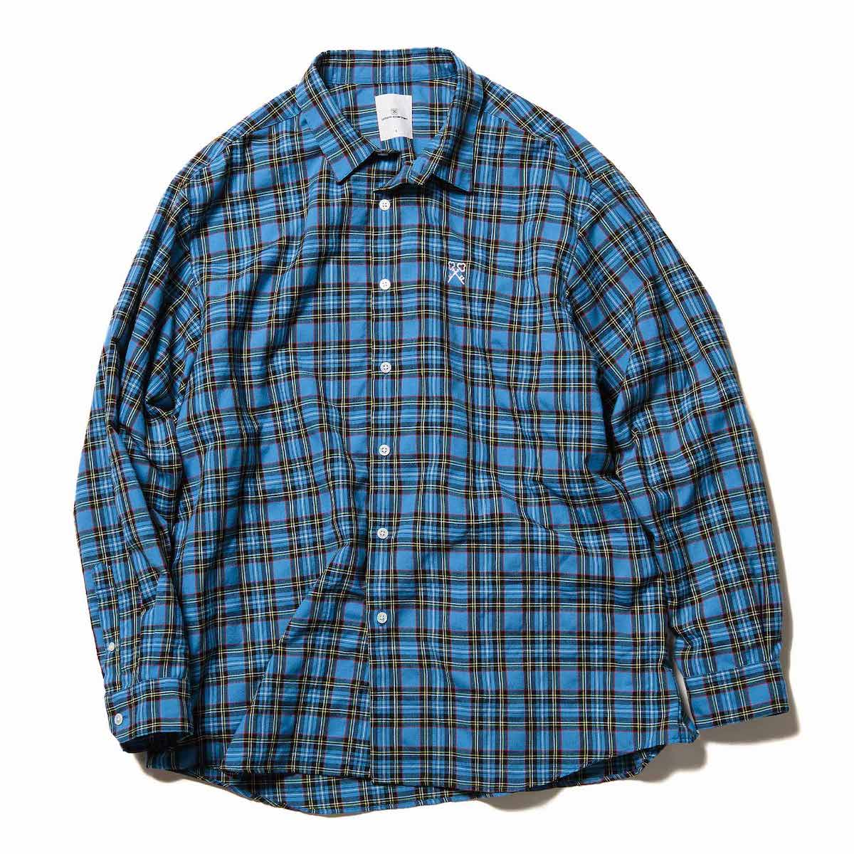 uniform experiment / BAGGY REGULAR COLLAR CHECK SHIRT (Sax)