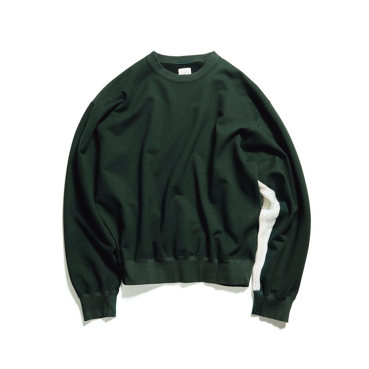 uniform experiment / SLEEVE PANELED CREWNECK SWEAT (Green)