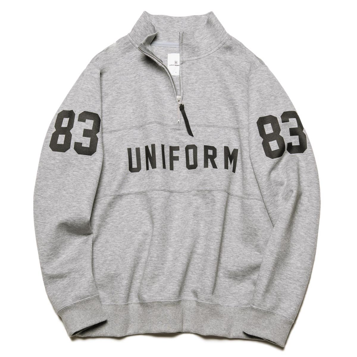 uniform experiment / HALF ZIP NUMBERING STAND COLLAR SWEAT (Gray)