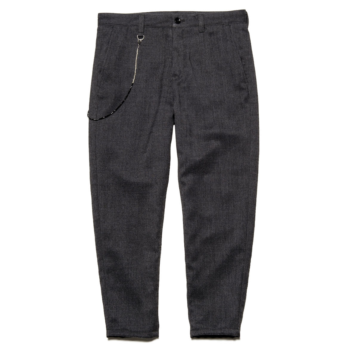 uniform experiment / POLYESTER TWEED CARROT FIT CROPPED PANTS (Charcoal Gray)