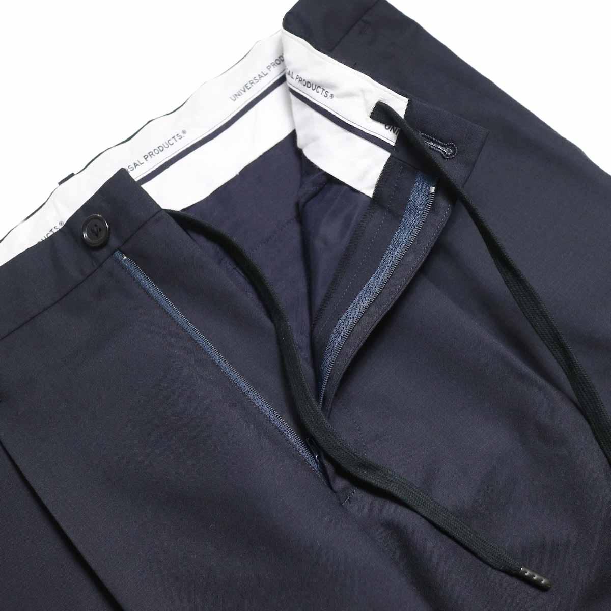 UNIVERSAL PRODUCTS / Wool Easy Slacks -Navy ドローコード