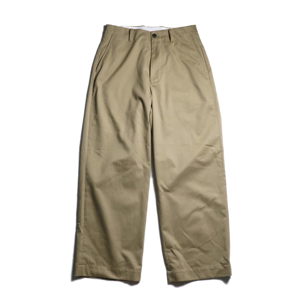 UNIVERSAL PRODUCTS / No Tuck Wide Chino Trousers -Camel