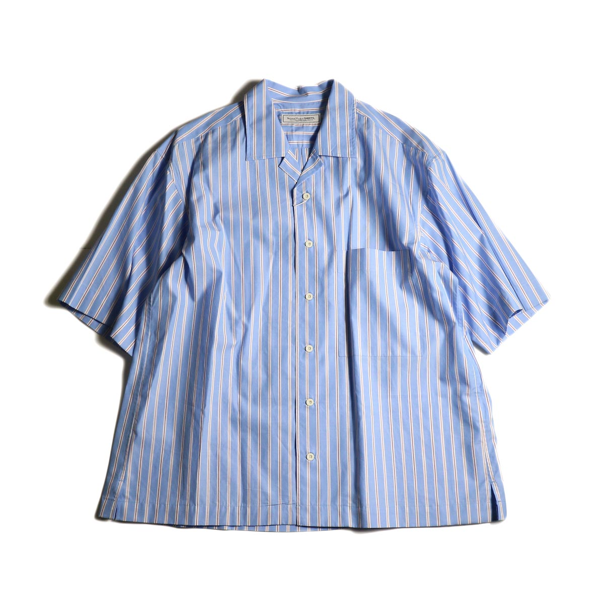 UNIVERSAL PRODUCTS /  STRIPE OPEN COLLAR S/S SHIRT (Sax Stripe)正面