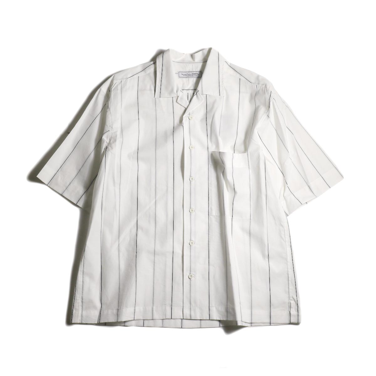 UNIVERSAL PRODUCTS /  STRIPE OPEN COLLAR S/S SHIRT (White Stripe)