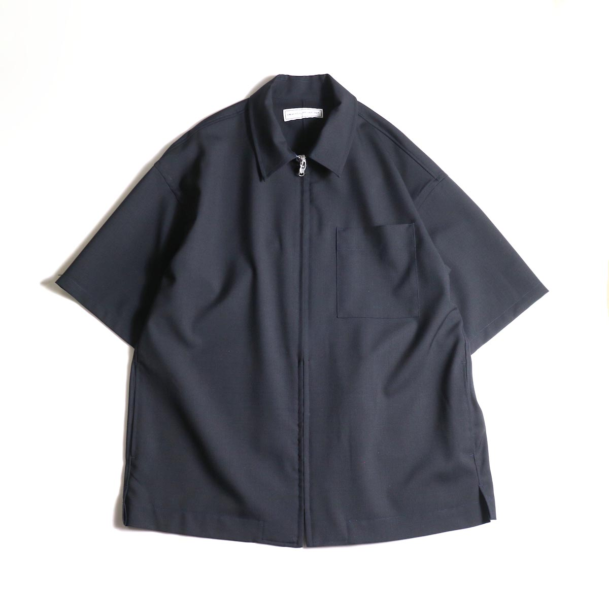 UNIVERSAL PRODUCTS /  SUMMER WOOL ZIP FRONT S/S SHIRT (Navy)