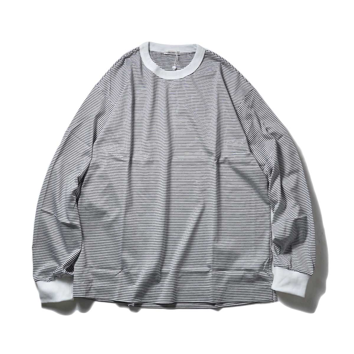 UNIVERSAL PRODUCTS / BORDER L/S T-SHIRT (White)
