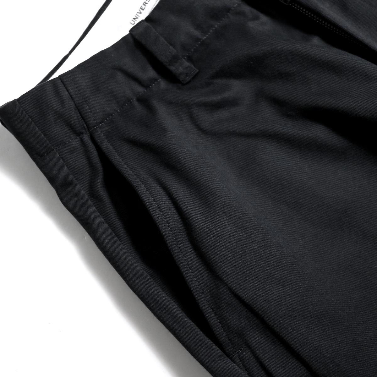 UNIVERSAL PRODUCTS / No Tuck Wide Chino Trousers (Black)ポケット
