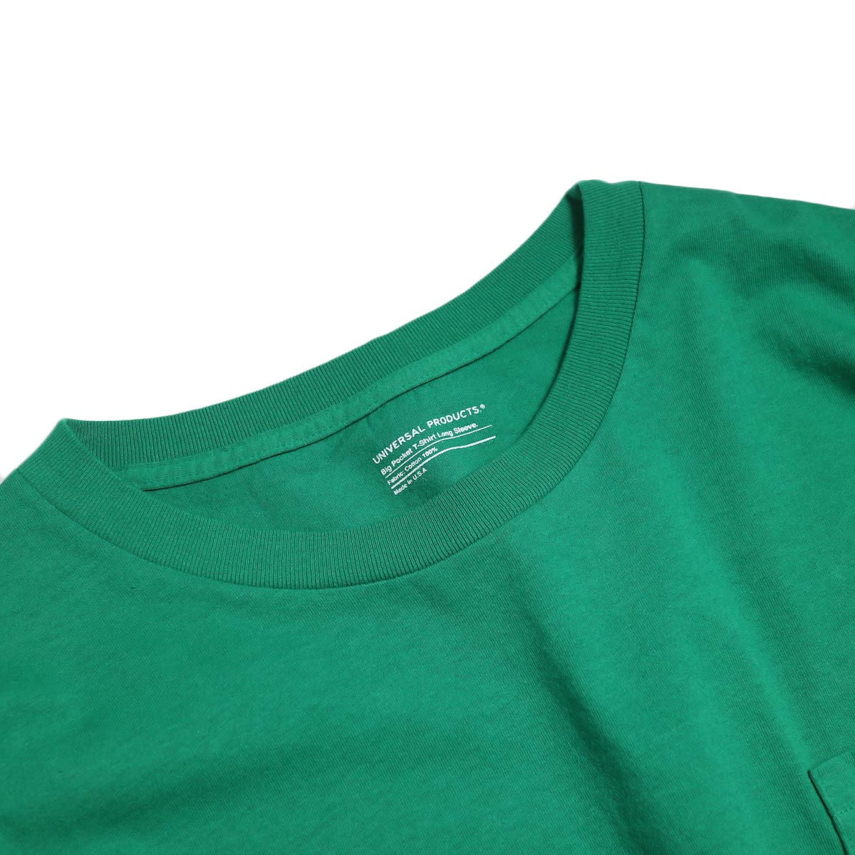 UNIVERSAL PRODUCTS / Heavy Weight L/S T-Shirt -Green 首回り