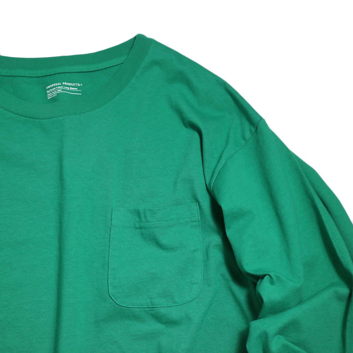 UNIVERSAL PRODUCTS / Heavy Weight L/S T-Shirt -Green ポケット