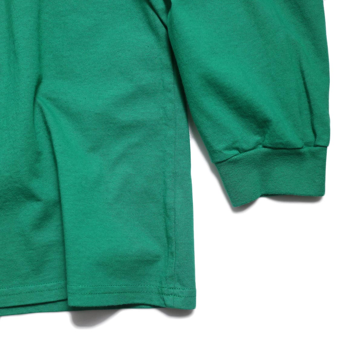 UNIVERSAL PRODUCTS / Heavy Weight L/S T-Shirt -Green 裾、袖