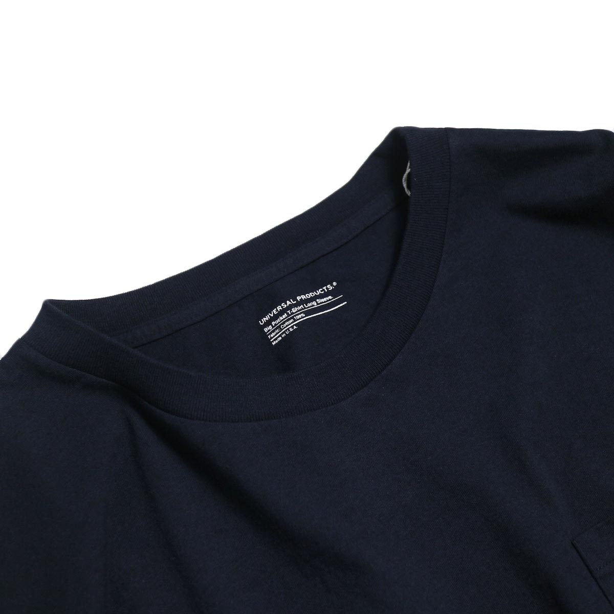 UNIVERSAL PRODUCTS / Heavy Weight L/S T-Shirt -Navy 首回り