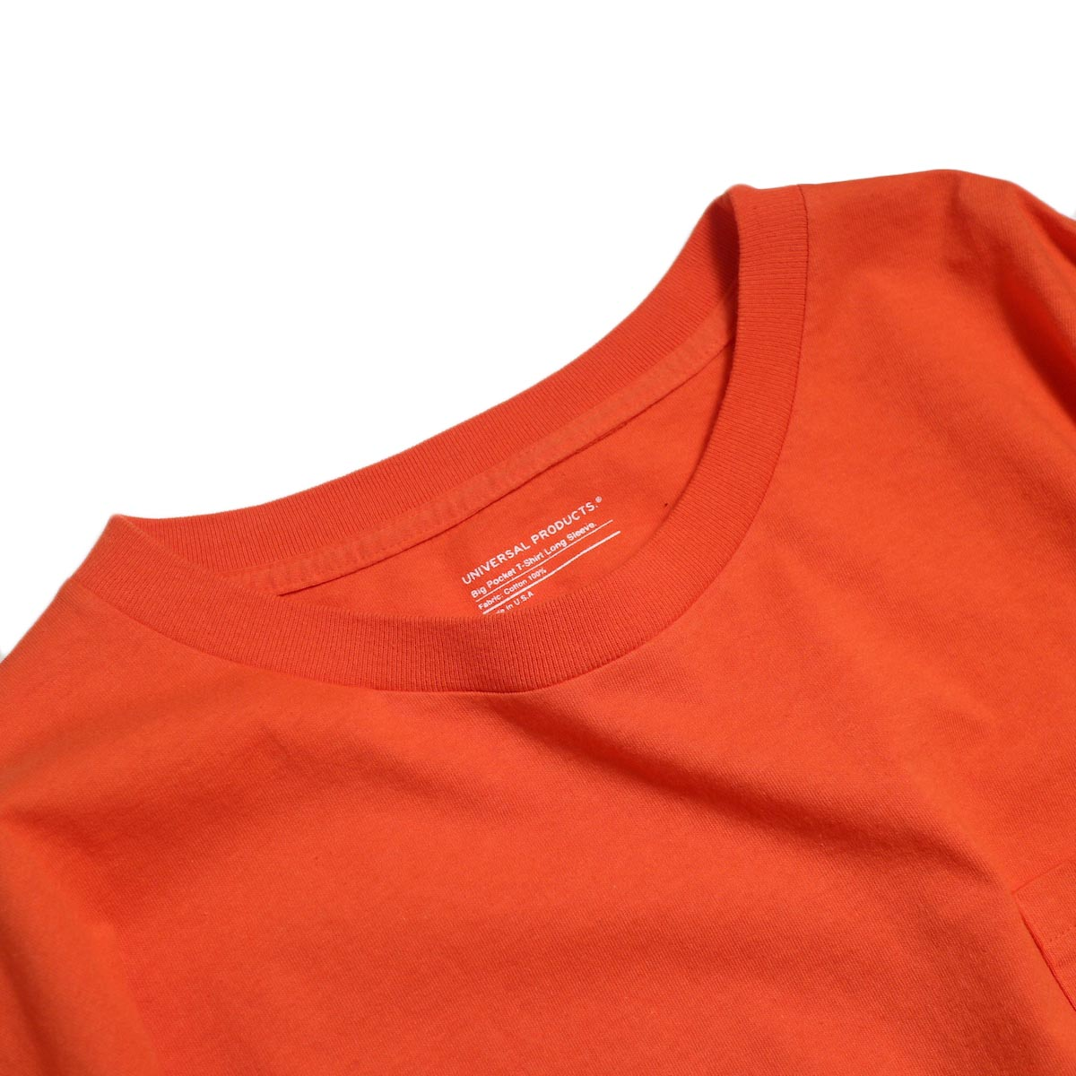 UNIVERSAL PRODUCTS / Heavy Weight L/S T-Shirt -Orange 首元