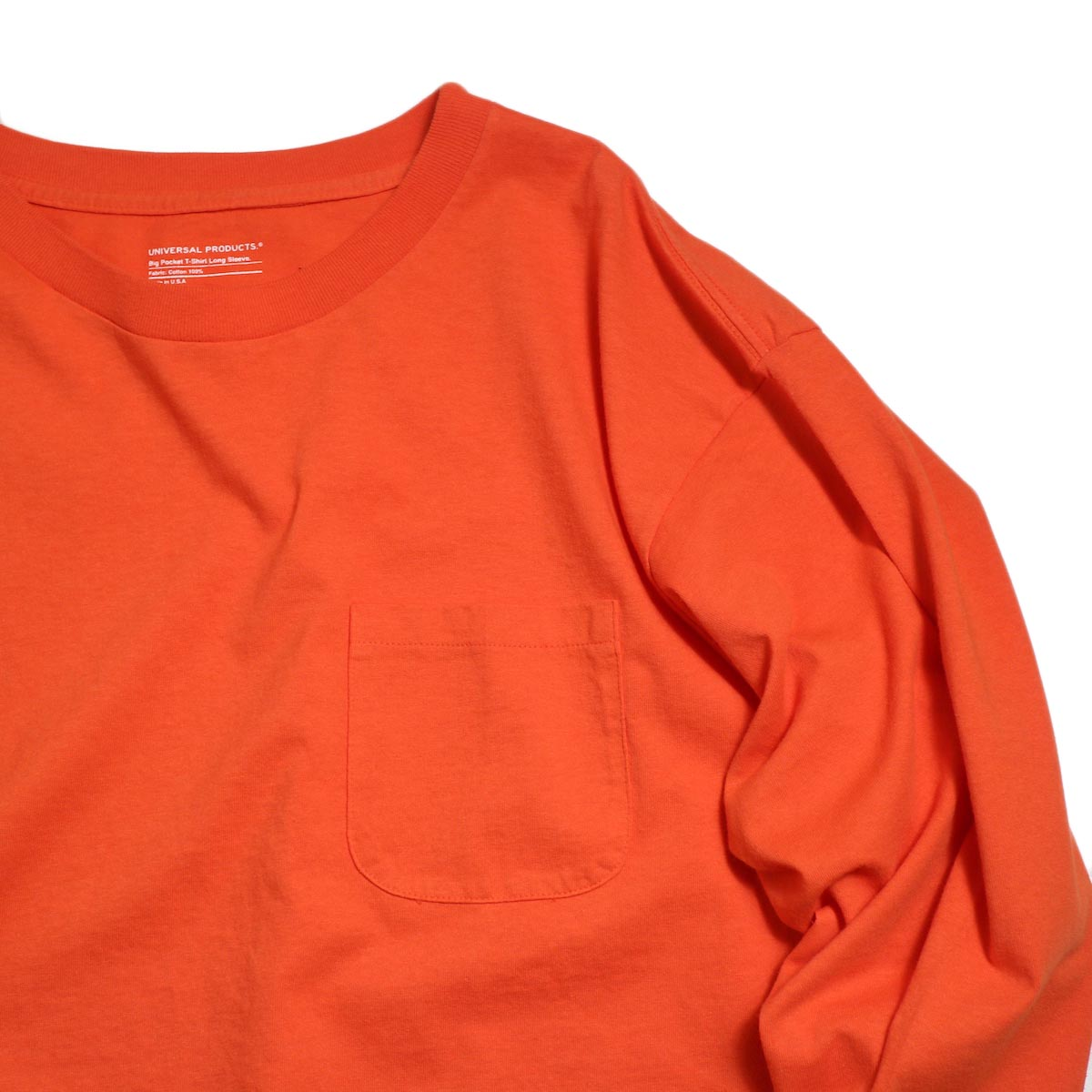 UNIVERSAL PRODUCTS / Heavy Weight L/S T-Shirt -Orange ポケット
