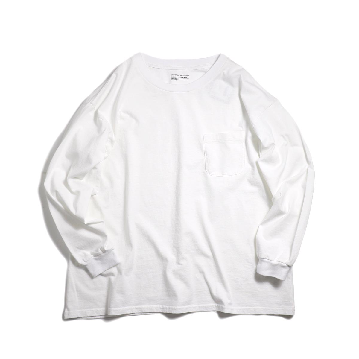 UNIVERSAL PRODUCTS / Heavy Weight L/S T-Shirt -White 正面