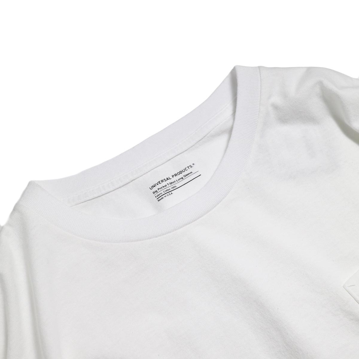 UNIVERSAL PRODUCTS / Heavy Weight L/S T-Shirt -White 首元