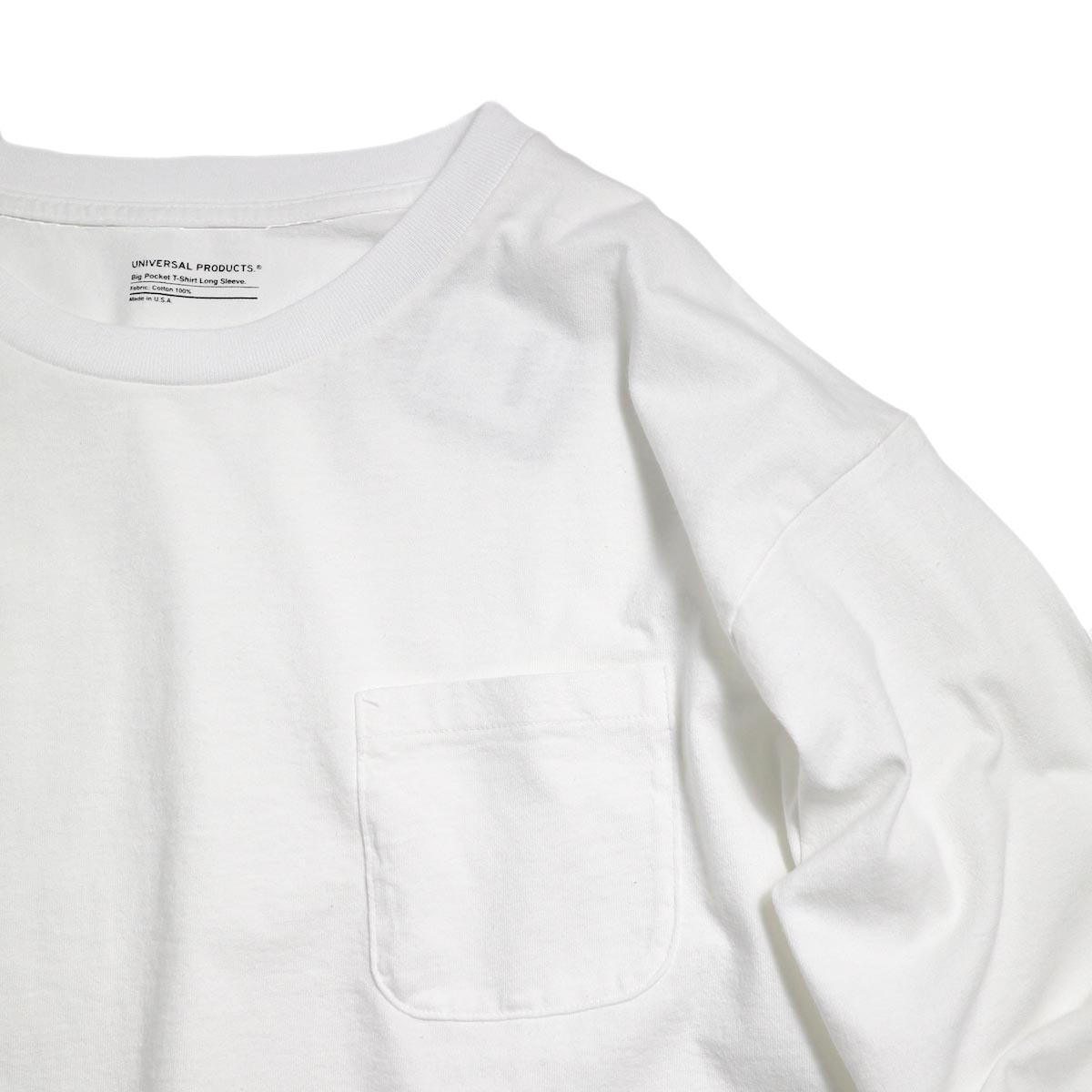 UNIVERSAL PRODUCTS / Heavy Weight L/S T-Shirt -White ポケット