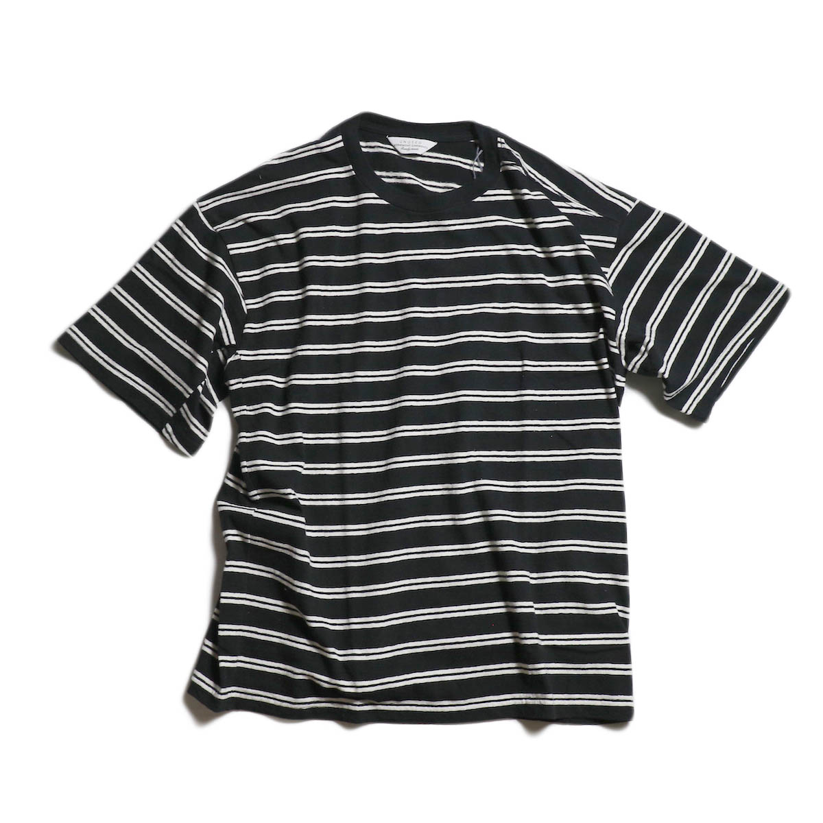 UNUSED / US1387 BORDER TEE -BLACK × WHITE