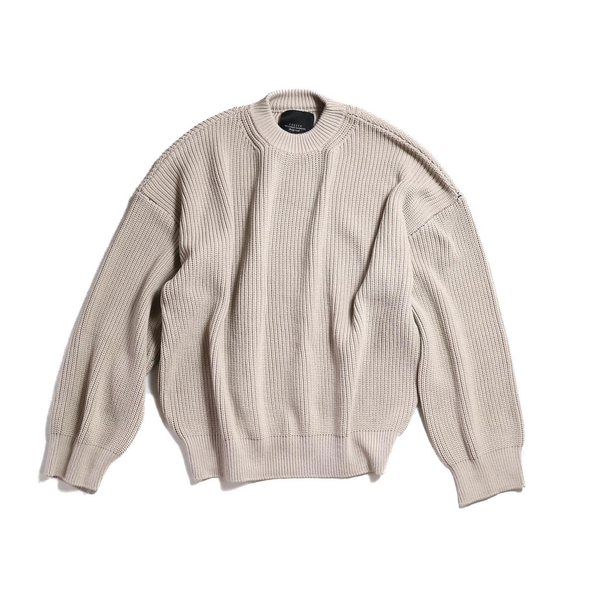 UNUSED / US1412 BIG SIZE 5G KNIT -BEIGE GRAY