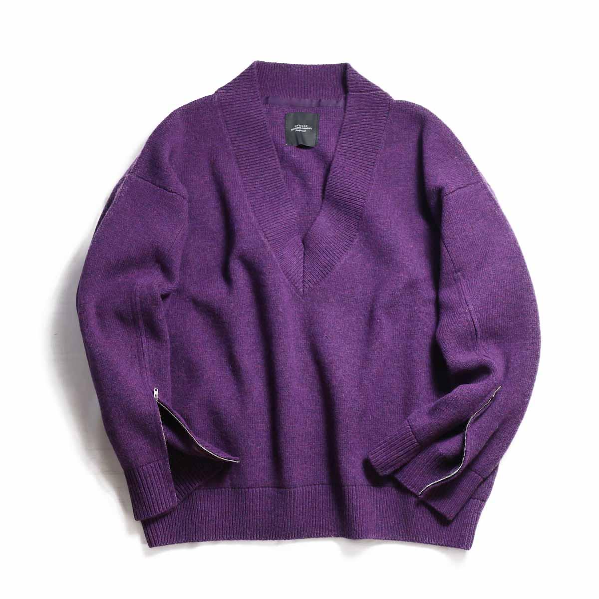 UNUSED Ladies / US1498 Zip Knit -PURPLE