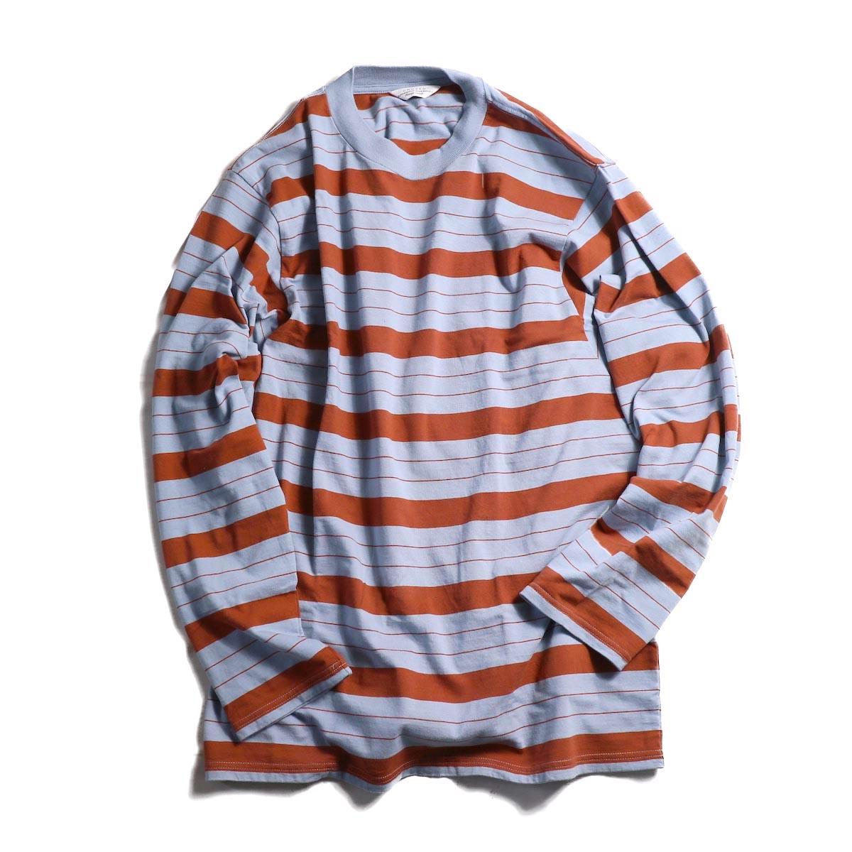 UNUSED / US1513 Long Sleeve Border T-shirt. -GRAY BLUE × LIGHT BROWN