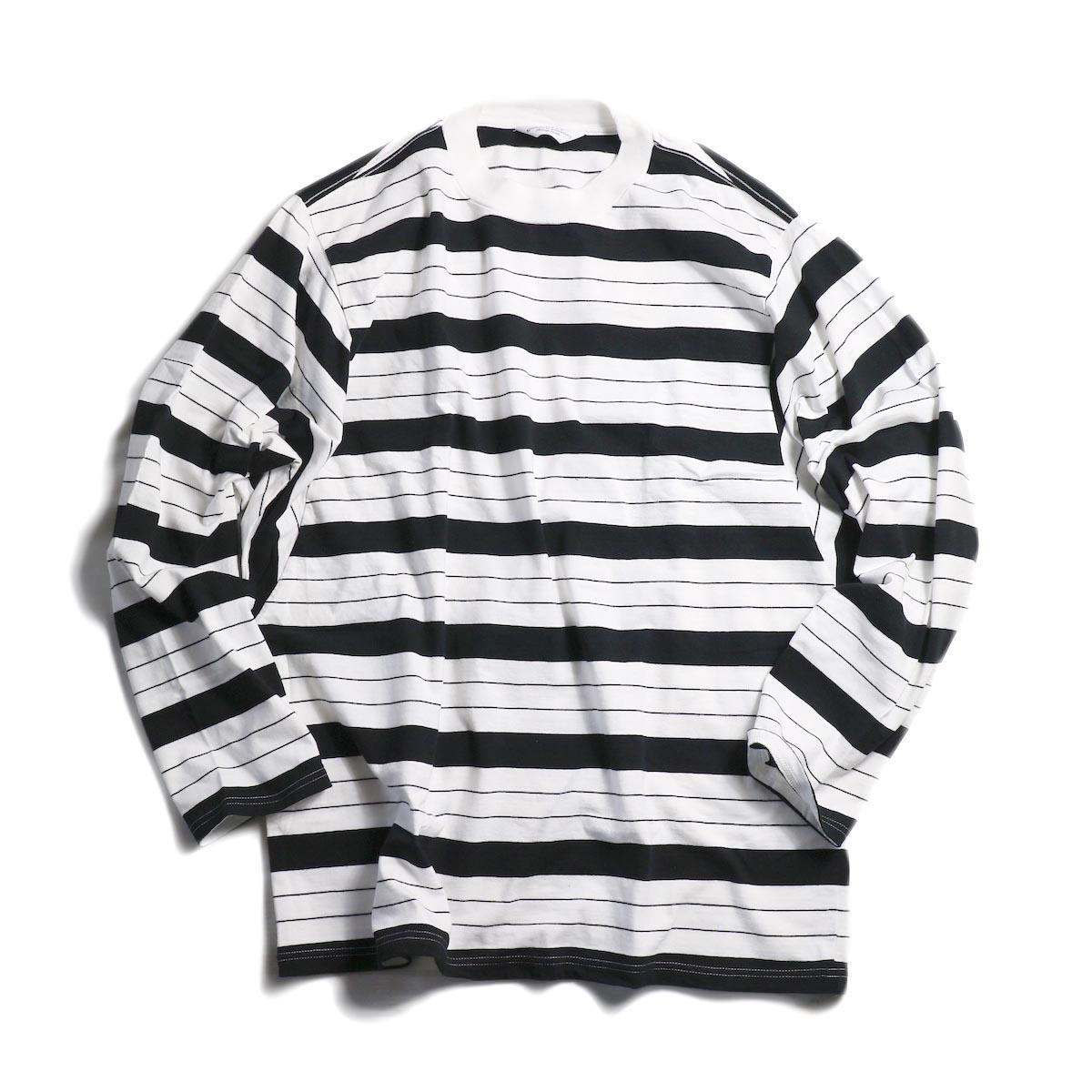 UNUSED / US1513 Long Sleeve Border T-shirt. -WHITE×BLACK