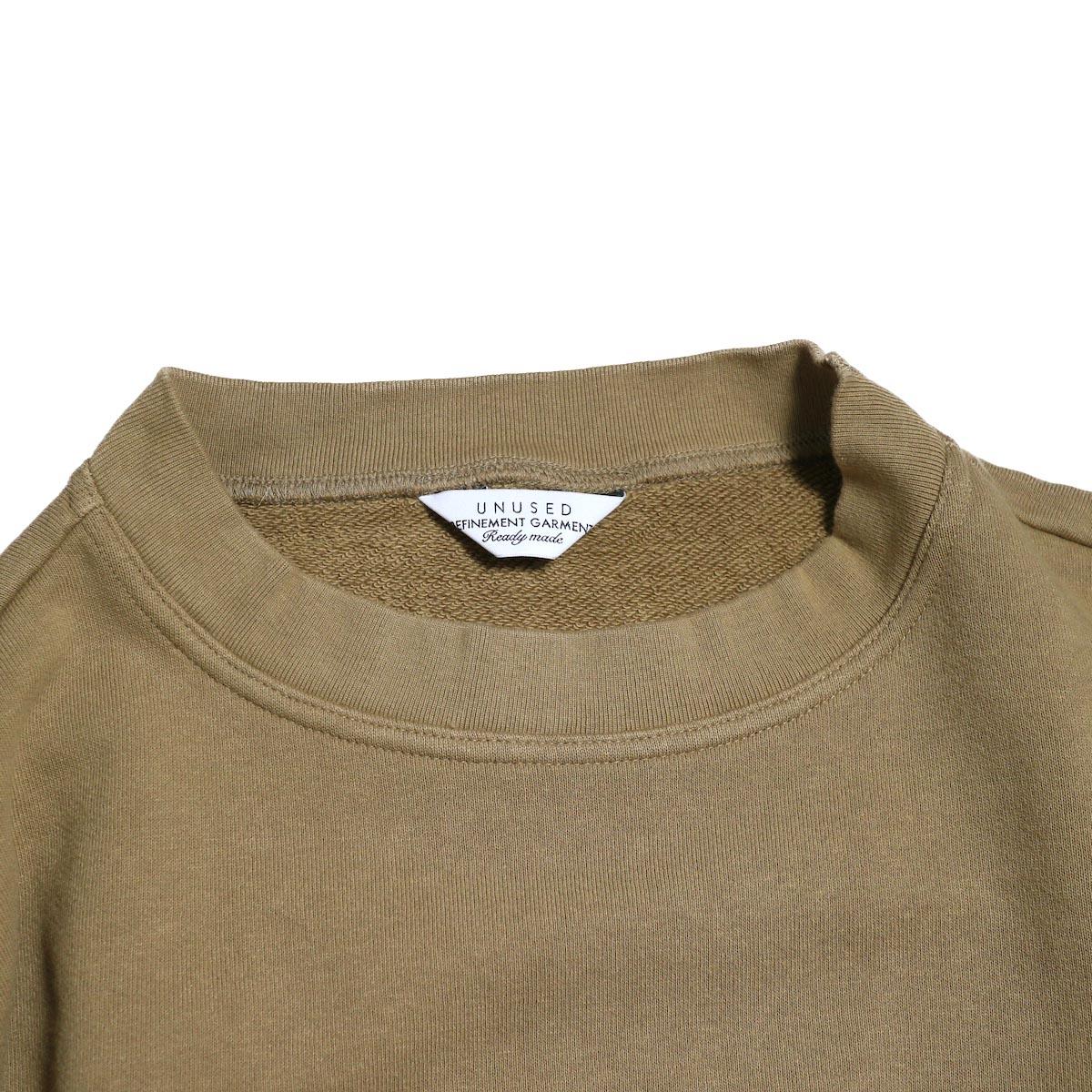 UNUSED / US1529 Crew Neck Sweat Shirt -CAMEL  首周り