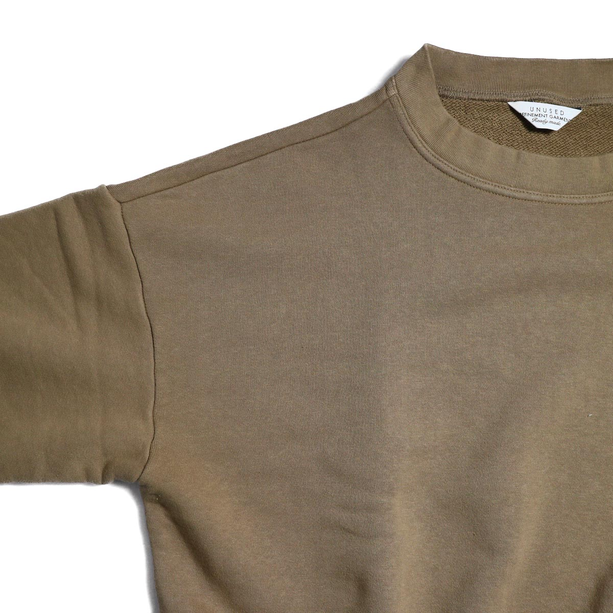 UNUSED / US1530 Crew Neck Sweat Shirt -CAMEL  ドロップショルダー