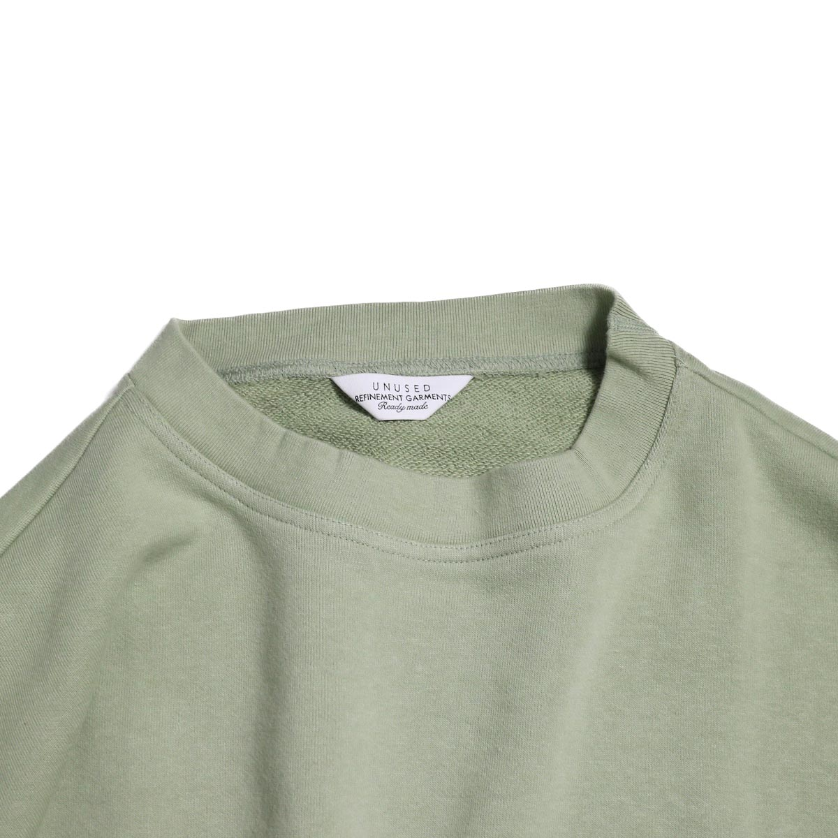 UNUSED / US1530 Crew Neck Sweat Shirt -SAGE GREEN 首周り
