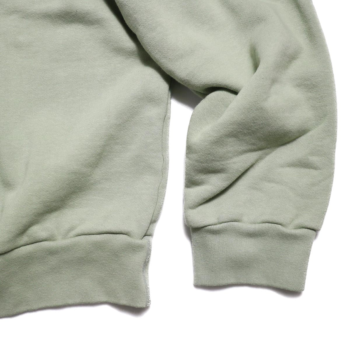 UNUSED / US1530 Crew Neck Sweat Shirt -SAGE GREEN 袖、裾
