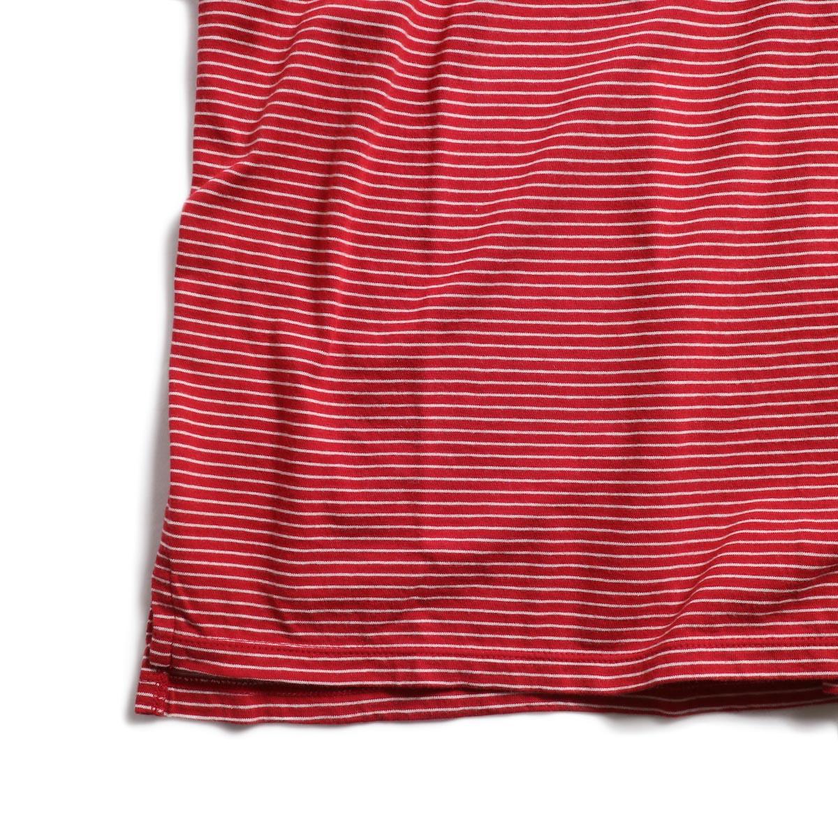 UNUSED / US1546 Border S/S Tee (Red×White) 裾