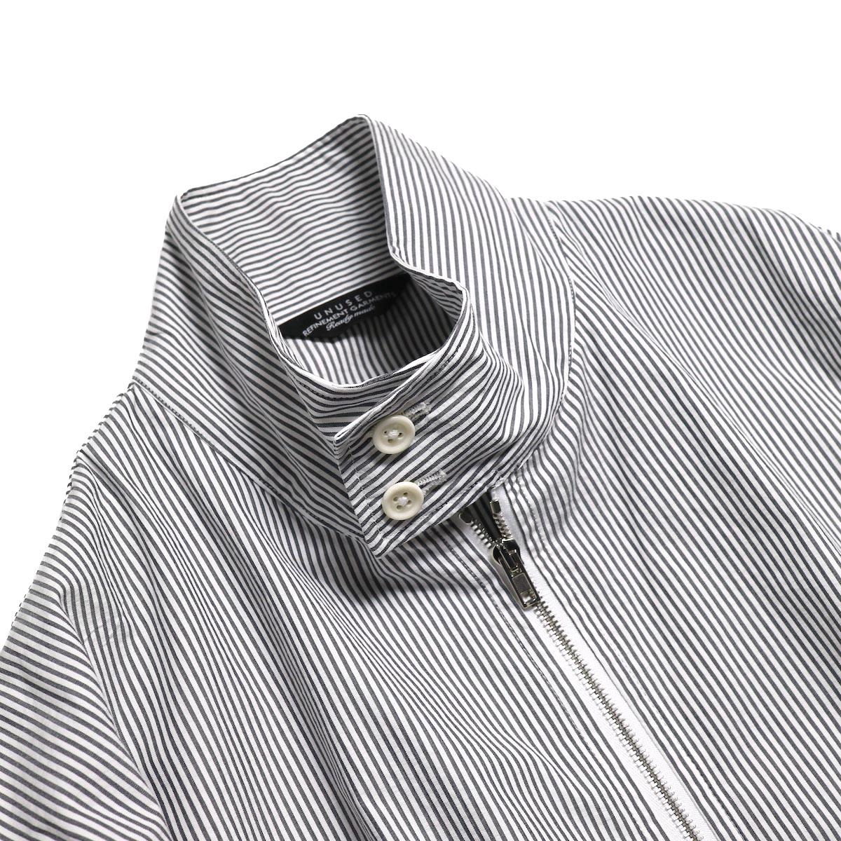 UNUSED / US1564 Stripe Drizzler Jacket. (Black×White) 襟