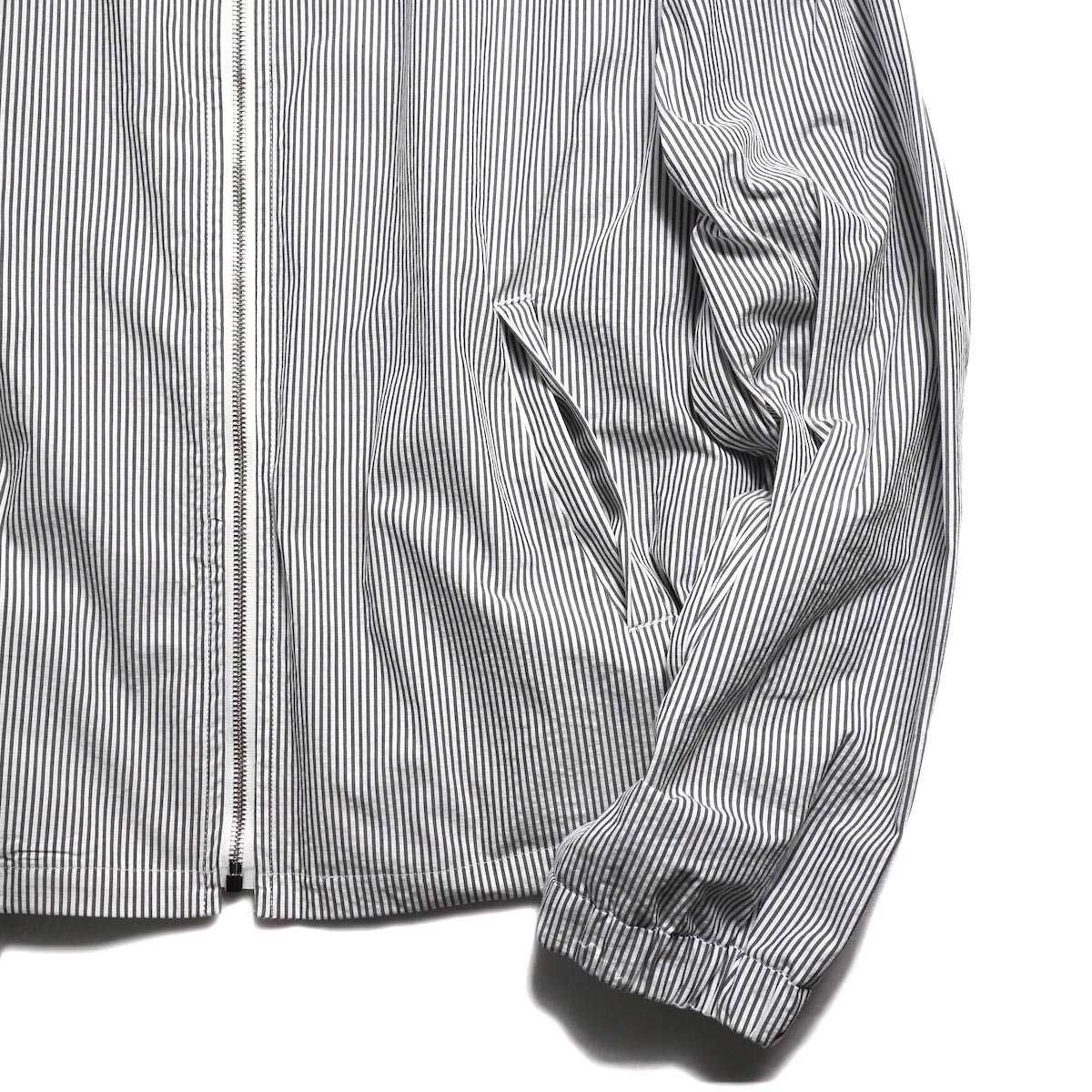 UNUSED / US1564 Stripe Drizzler Jacket. (Black×White) 袖、裾