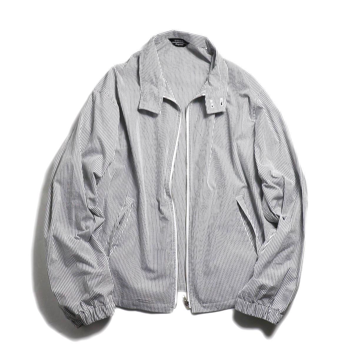 UNUSED / US1564 Stripe Drizzler Jacket. (Black×White) zip開閉時