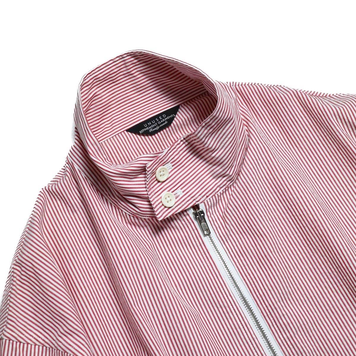 UNUSED / US1564 Stripe Drizzler Jacket. (Red × White) 襟
