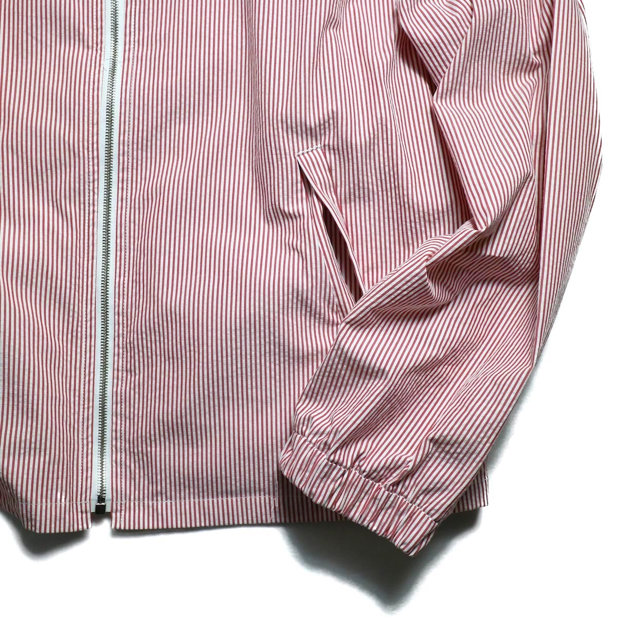 UNUSED / US1564 Stripe Drizzler Jacket. (Red × White) 袖、裾