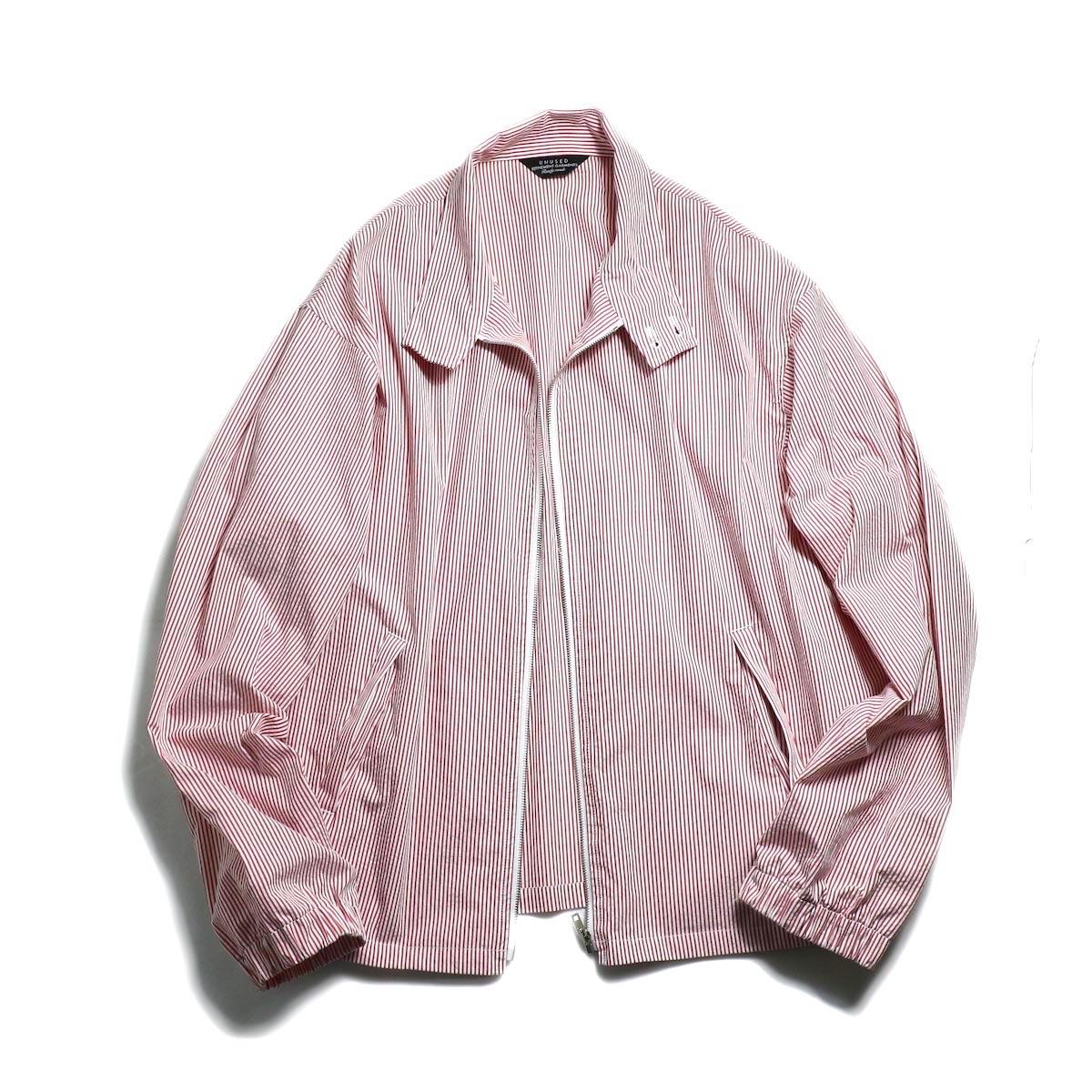 UNUSED / US1564 Stripe Drizzler Jacket. (Red × White) zip開閉時