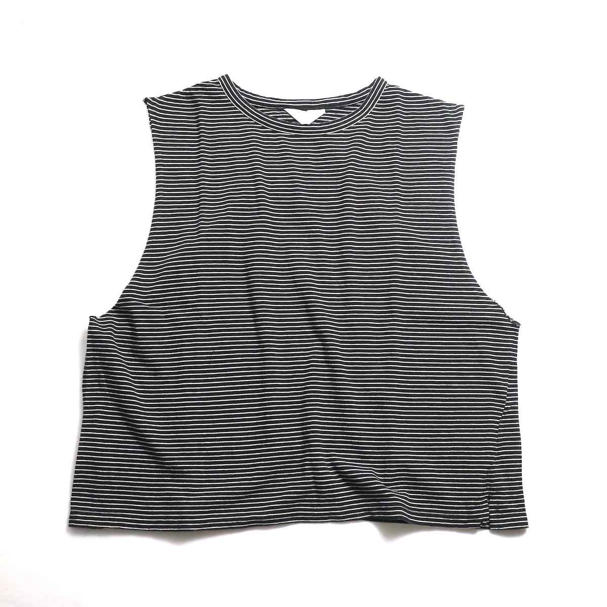 UNUSED / US1568 Border No Sleeve Tee (Black×White) 正面