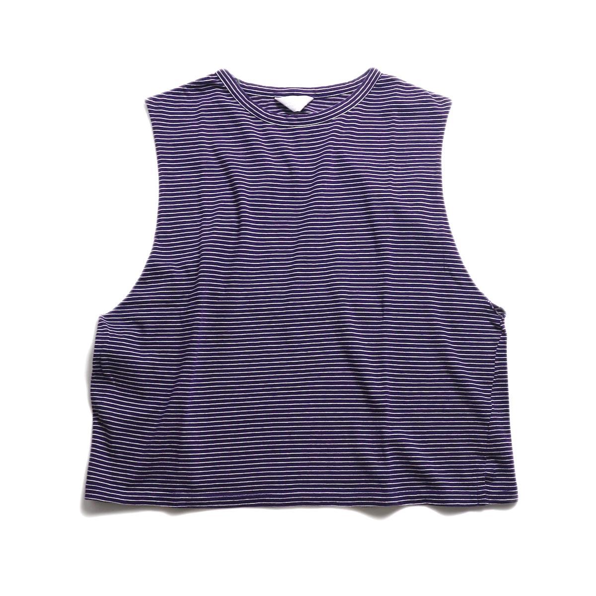 UNUSED / US1568 Border No Sleeve Tee (Purple×White)