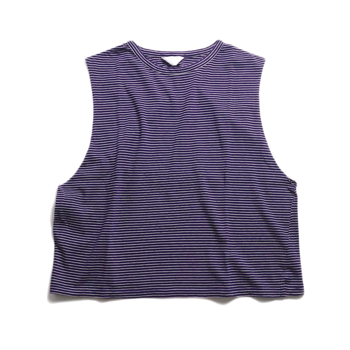 UNUSED / US1568 Border No Sleeve Tee (Purple×White) 正面
